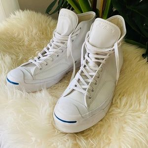 CONVERSE jack Purcell leather hi sneakers white 12